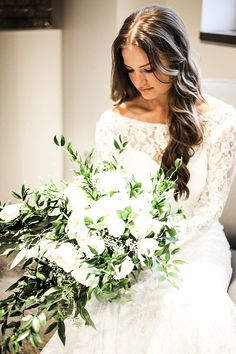 #MoonlightBridal Real Bride Maura in our vintage-inspire lace long sleeve wedding gown