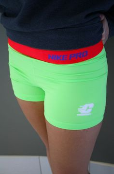 Lime With Crimson Band Flying C Nike Compression Shorts (SKU 5004919641)