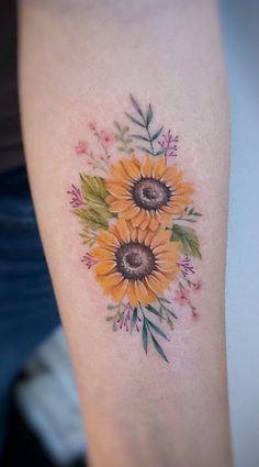 Sunflower Tattoo Meaning, Sunflower Tattoo Small, Sunflower Tattoos, Sunflower Tattoo Design, Watercolor Sunflower Tattoo, Pretty Tattoos, Unique Tattoos, Beautiful Tattoos, Symbolic Tattoos
