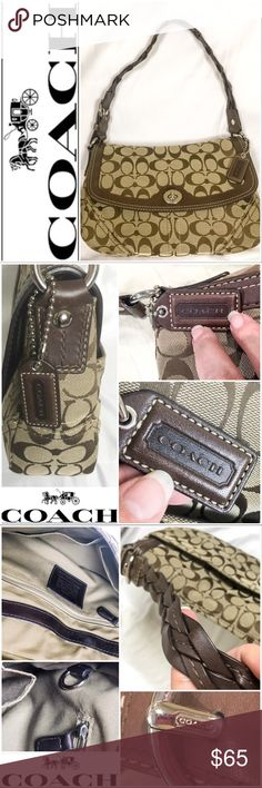 "•Coach• Chelsea Signature Braided Strap Bag Authentic Coach purse in excellent used condition with hardly any sign of wear! Chelsea Signature bag with braided leather strap! No- H0769-11014. Material is jacquard. 12""length, 3"" depth and 7.5""tall. The strap drop is 8.5"". Coach leather logo tag on handle. Coach logo in silver buckle. Pocket on front backside of purse. Snap closure. Inside has two sleeves and an yxx zippered pocket. Side key ring inside also! Excellent condition and a great…"