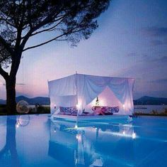 Swimming Pool With Romantic Outdoor Canopy Bed Design home trends design photos, home design picture at Home Design and Home Interior Canopy Bedroom Sets, Canopy Bed Curtains, Pool Canopy, Garden Canopy, Beach Canopy, Backyard Canopy, Diy Canopy, Fabric Canopy, Dream Homes