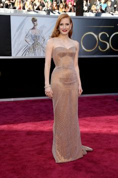 This was one of my faves too! Anything Jessica Chastain wears is amazing//25 Modern Oscars Dresses That Will Go Down in History