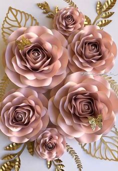 Set of 6 roses nursery paper flowers nursery decor nursery Paper Flower Patterns, Paper Flower Decor, Paper Flower Tutorial, Paper Flower Backdrop, Giant Paper Flowers, Flower Wall Decor, Paper Roses, Flower Decorations, Wall Flowers