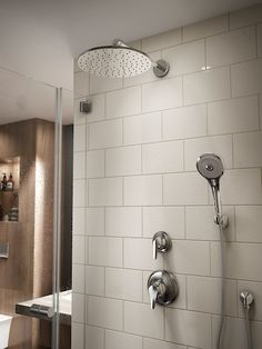 TOTO Rain Shower and Hand Shower sets paired with neutral tile create a refreshing space to begin the day. Bathroom Renos, Bathroom Fixtures, Bathroom Renovations, Bathrooms, Shower Set, Rain Shower, Bathroom Storage Shelves, Bathroom Organization, Window In Shower
