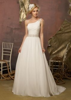 Mori Lee One Shoulder Wedding Dress