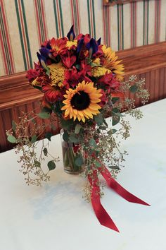 Fall Wedding Bridesmaid Bouquet as head table decoration