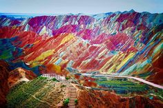 Funny pictures about China's Rainbow Mountains. Oh, and cool pics about China's Rainbow Mountains. Also, China's Rainbow Mountains. Beautiful Places In The World, Places Around The World, Amazing Places, Amazing Things, Wonderful Places, Rainbow Mountains China, Colorful Mountains, Desert Mountains, Zhangye Danxia Landform