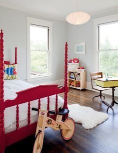 spindle bed, love it in red. green vintage school desk is very cool too. Blue Grey Walls, Neutral Walls, White Walls, Painted Beds, Painted Metal, Deco Kids, Red Bedding, Luxury Bedding, Bedding Sets