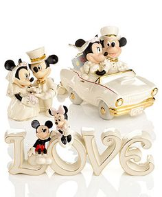 Lenox Collectible Disney Figurines, Mickey Mouse and Minnie Wedding Collection