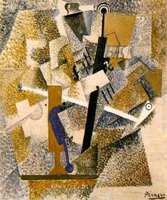 Pablo Picasso - Still Life with a Pipe, a Violin, and a Bottle of Bass, 1914