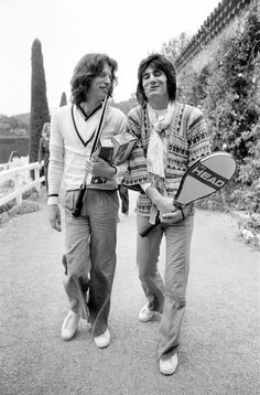 Mick Jagger & Ron Wood, Relax In The South Of France, By Playing Tennis, Before The Start Of The Rolling Stones European Tour ( Starting In Frankfurt, April 28th,1976 ) Picture Taken Saturday April 22nd,1976