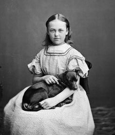 Portrait of a girl with a dog, Stockholm, Sweden, Wilhelm Lundberg, 1865-1875