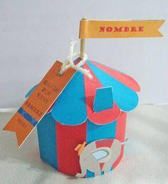 Cajita carpa de circo para colorear un cumpleaños infantil