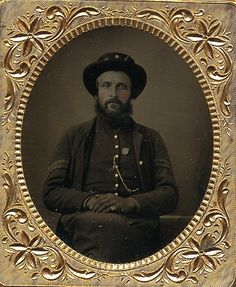 """Sixth plate tintype identified as Benjamin Jones of the famed 149th Pennsylvania Bucktails! This one is identified inside the case reading """"149 PA Benjamin Jones"""". Benjamin would enlist as a corporal in Co. D starting in August, 1862. He would serve the entire war and somehow manage to survive despite the regiments impressive battle honors. (Continued in comments)."""