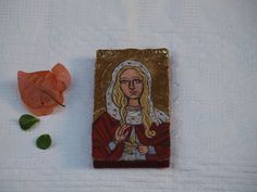 St. Lucy Miniature, Saint Lucia- Scandinavian Christmas- mini holy icon- original handmade religious painting- christian virgin martyr