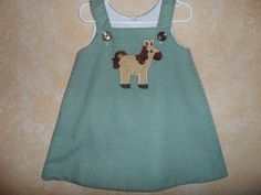 Girl's Aline Dress or Jumper with a  Friendly Horse Sizes