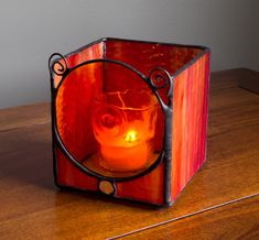 Orange Stained Glass Candle Holder With Rondel by KolorWavesGlass