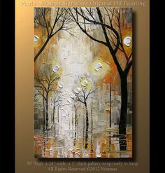 Fog in the Park  Painting size - 36 x 24 and 3/4 thick  Made to order.  Painted on canvas mounted on wood, edges painted in black - READY TO HANG.  Medium: PROFESSIONAL grade oil and acrylic colors. Signed and dated on the front and reverse by the artist. This painting was created with palette knife, wood tools and oils in my signature style. A certificate of Authenticity signed and dated by the artist will be included in the package. This artwork is new and in excellent condition. Direc...