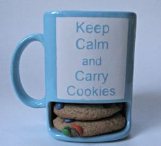 Keep Calm and Carry Cookies Mug. Cookie Cup. Blue Message Mug. Milk & Cookies Cup. Teal and White.