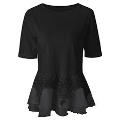 RoseWholesale - Rosewholesale Lace Splicing Layered Peplum Blouse - AdoreWe.com