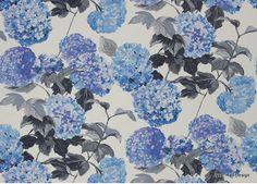 Indigo Blue and White floral patterned linen drapery fabric from Designers Guild.