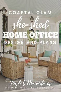 Southern porch inspiration for a she-shed home office design / she shed interior. - Southern porch inspiration for a she-shed home office design / she shed interior / she shed diy / s - Home Office Design, Home Office Decor, Modern House Design, Modern Interior Design, Home Decor, Modern Decor, Southern Porches, Southern Homes, Country Porches
