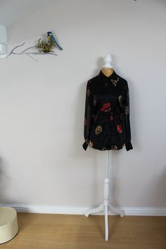 Vintage fitted satin blouse shirt size 8 10 by BebopBoutiqueuk