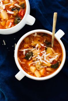 Warm up with this vegetarian minestrone soup! This classic minestrone soup recipe is healthy, easy to make, and tastes incredible. It's vegan, too, if you don't top it with cheese.