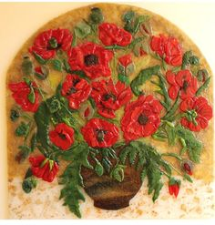 Arched Red Poppies Fused Glass Mosaic Panel