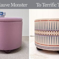 80 s Fabric Ottoman Makeover: From Mauve Monster to Terrific Tribal!