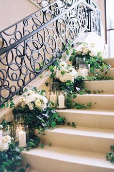 The Most Popular Wedding Color Trends For 2017 ❤ wedding color trends stairs with candles kaylabarker ❤ See more: http://www.weddingforward.com/wedding-color-trends/ #weddingforward #wedding #bride #weddingflowers