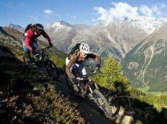Mountain bike dating and shredding the mountain bike trail together.