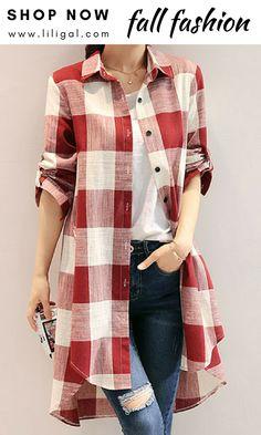 Button Up Long Sleeve Plaid Print Blouse Modest Fashion, Fashion Dresses, Printed Blouse, Knitwear, Ideias Fashion, Autumn Fashion, Cute Outfits, Plaid, Clothes For Women
