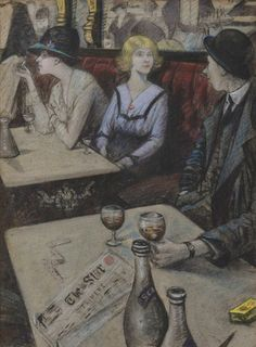 The Lilies of the Cafe, c.1919 by C R W NEVINSON (British 1889-1946) pastel, 25 x 18 inches