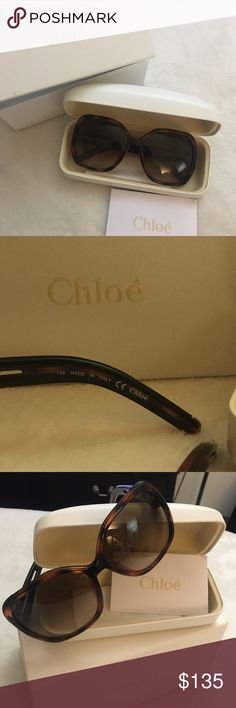 Brand new over size sunnies by:CHLOE CHLOE sunglasses tortoise design over size AUTHENTIC with box,case and glass cleaner Chloe Other