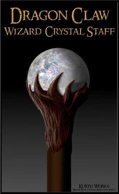 Dragon Claw Wizard Crystal Magic Staff