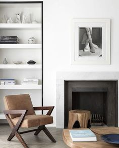Simple Scandinavian interior with a masculine #fireplace