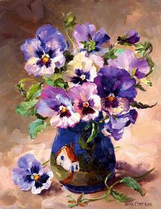 Pansies in Torquay Pottery | Mill House Fine Art – Publishers of Anne Cotterill Flower Art