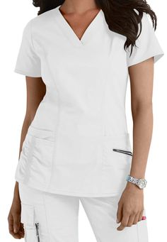 Beyond Scrubs gommage Ellie v-neck top. Image principale
