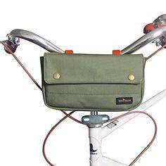 Tourbon Vintage Canvas Bike Panniers Bicycle Handlebar Bag - Classic Green (Green)