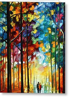 Autumn Light Greeting Card by Leonid Afremov