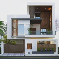front elevation designs for duplex houses in india Modern Exterior House Designs, Best Modern House Design, Latest House Designs, Modern House Facades, Bungalow House Design, House Front Design, Minimalist House Design, Dream House Exterior, Modern Architecture House