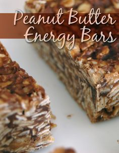 No-bake chocolate  peanut butter energy bars can replace other energy bars for a quick snack or boost of energy! #recipe #food