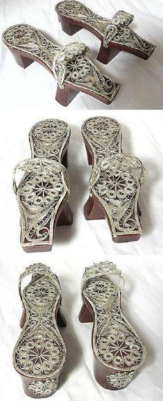 Wood and silver 'hamam' (bath) shoes.  Turkish filigree work, ca. 1900-1950.