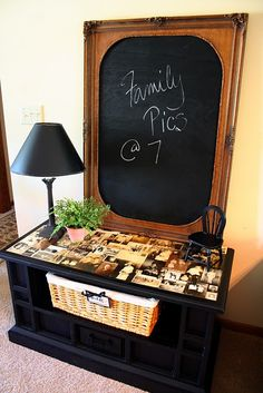 Repurposed Memory Table- I want to do a coffee table like this, but haven't found the right one yet.  So cute.