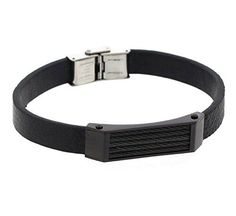 Edforce Stainless Steel and Black Leather Men's Bracelet with Black Cable Design - Resizeable