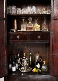 The secret to the Holidays is a well-stocked bar! Get tips and tricks for creating your own ultimate home bar for the holidays, from Indeed Decor. Drinks Cabinet, Liquor Cabinet, Medicine Cabinet, Armoire Bar, Bar Hutch, Antique Armoire, Antique Bar, Antique Cupboard, Vintage Cabinet