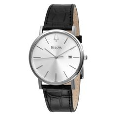 Bulova Men's 96B104 Strap Silver Dial Watch LOVE IT! Too low to display Men's strap watch silver dial Flat mineral crystal; mountain pointed baton hands Stainless steel case and black leather strap Duet to 96L104, calendar Water-resistant to 99 feet (30 M)
