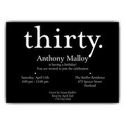 A Thirty White on Black 30th Birthday Invitations | PaperStyle