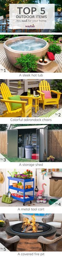 When looking at outdoor products, you need to consider durability and utility as well as color and design. Our three favorite new trends are vibrant colors, mixing materials and textures, and recyclable furniture. Visit Wayfair and sign up today to get access to exclusive deals everyday up to 70% off. Free shipping on all orders over $49.